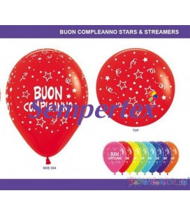 """12"""" BUON COMPLEANNO STELLE ASS. pz.100"""