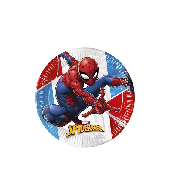 PIATTI DESSERT SPIDERMAN SUPER HERO COMPOSTABILE PZ.8